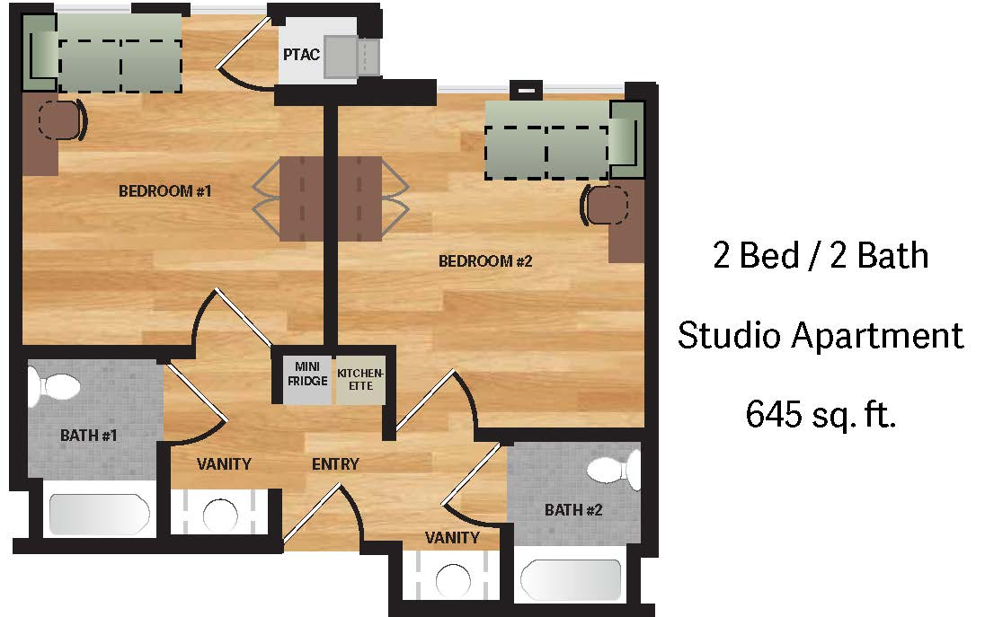 Baker double studio apartment floor plan and layout